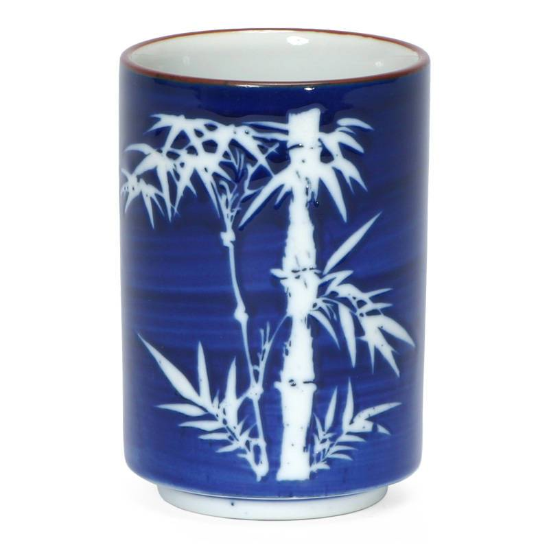 Bamboo on Cobalt Blue Japanese Tea Cup - Good Life Tea