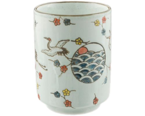 Cranes and Flowers Japanese Tea Cup - Good Life Tea