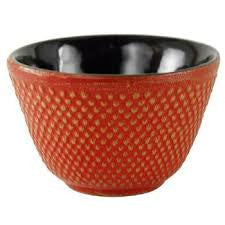 Japanese Cast Iron Tea Cup Hobnail pattern red