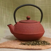 20 ounce Japanese cast iron teapot in hobnail pattern - Red