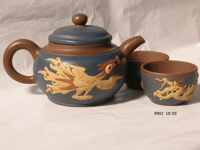 Dragon and Phoenix Yixing tea pot and cup set Blue