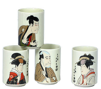Japanese tea cups with Sharaku artwork. - Good Life Tea