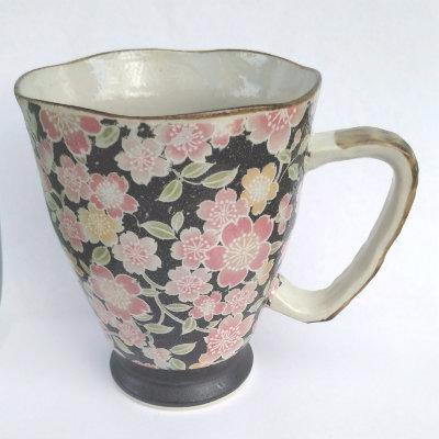 Tapered Mug with Pink Flowers