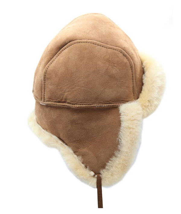 Sheepskin Hat with Tie