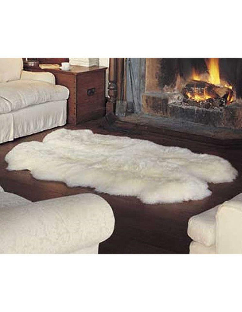 Quad Long Wool Sheepskin Rug