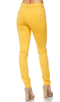 Classic Stretch Knit Skinny Pants in Yellow (S-3XL) - SohoGirl.com