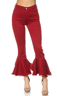 Red High Waisted Denim Flared Bell Bottom Pants - SohoGirl.com