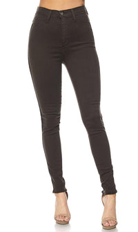 Olive Side Stripe High Waisted Denim Skinny Jeans - SohoGirl.com