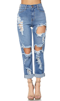 Vibrant Jeans High Waisted Distressed Mom Jeans - SohoGirl.com