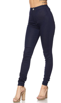 Super High Waisted Stretchy Skinny Jeans - Navy Blue Denim - SohoGirl.com