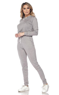 Crop Hoodie and High Waisted Joggers - Gray