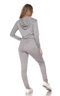 Crop Hoodie and High Waisted Joggers - Gray - SohoGirl.com