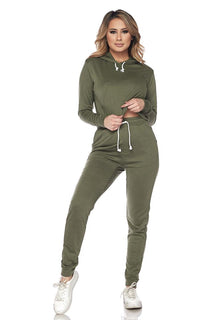 Crop Hoodie and High Waisted Joggers - Olive - SohoGirl.com