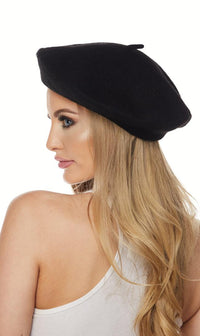Black Wool Beret Hat - SohoGirl.com