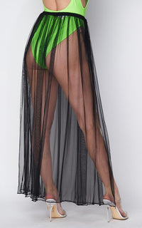 Pleated Double Slit Sheer Maxi Skirt - Black