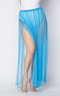 Pleated Double Slit Sheer Maxi Skirt - Sky Blue