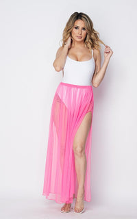 Pleated Double Slit Sheer Maxi Skirt - Pink - SohoGirl.com