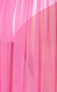 Pleated Double Slit Sheer Maxi Skirt - Pink