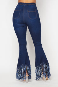 Super High Waisted Stretchy Distressed High Low Bell Bottoms - Dark Denim
