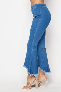 Mid Rise Denim Distressed Bell Bottoms - Light Denim