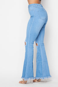 Super High Waisted Stretchy Distressed Bell Bottom Jeans - Light Denim