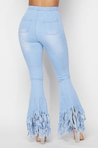 Super High Waisted Stretchy Distressed High Low Bell Bottoms - Light Denim