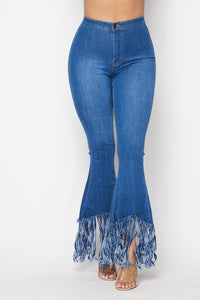 Super High Waisted Stretchy Distressed High Low Bell Bottoms - Medium Denim