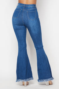 Super High Waisted Stretchy Slit Distressed Bell Bottoms - Medium Denim