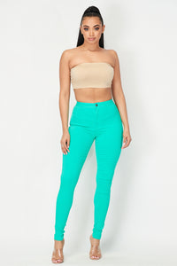 Super High Waisted Stretchy Skinny Jeans - Aqua Blue - SohoGirl.com