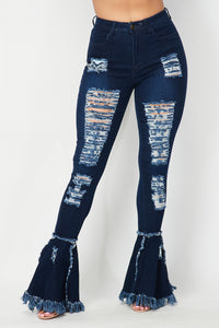 Super High Waisted Distressed Flare Jeans - Dark Denim - SohoGirl.com
