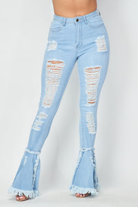 Super High Waisted Distressed Flare Jeans - Light Denim - SohoGirl.com