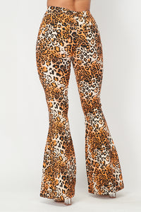 Super High Waisted Stretchy Bell Bottoms - Cheetah Print - SohoGirl.com
