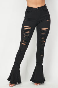 Super High Waisted Distressed Flare Jeans - Black - SohoGirl.com