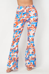 Super High Waisted Stretchy Bell Bottoms - Orange Blue Tie Dye - SohoGirl.com