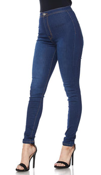 Super High Waisted Stretchy Skinny Jeans in True Blue (Plus Sizes Available)