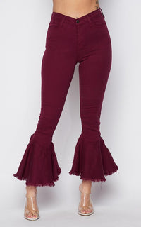 High Waisted Flared Bell Bottom Pants - Burgundy