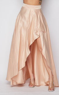Satin Asymmetrical High-Low Maxi Skirt - Champagne