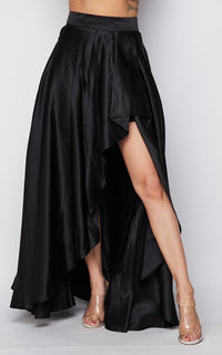 Satin Asymmetrical High-Low Maxi Skirt - Black