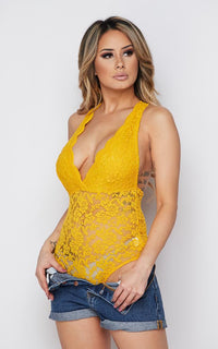 Scalloped Floral Lace Bodysuit - Mustard Yellow