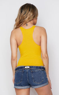 Medium Coverage Racerback Tank Bodysuit - Mustard Yellow