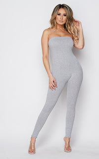 Gray Strapless Bodycon Jumpsuit