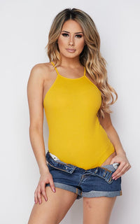 Mustard Ribbed High Neck Bodysuit