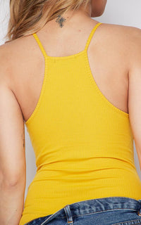 Mustard Ribbed High Neck Bodysuit - SohoGirl.com