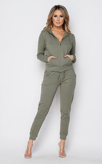 Zip Up Hoodie and Jogger Set - Sage
