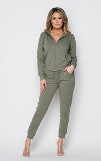 Zip Up Hoodie and Jogger Set - Sage - SohoGirl.com