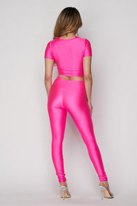 Nylon Front Tie Top and Leggings Set - Fuchsia