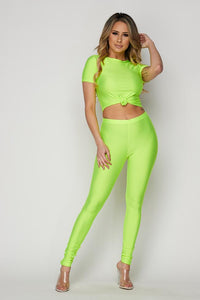 Neon Green Nylon Front Tie Top and Leggings Set - SohoGirl.com