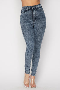 Acid Wash Stretchy High Waist Skinny Jeans