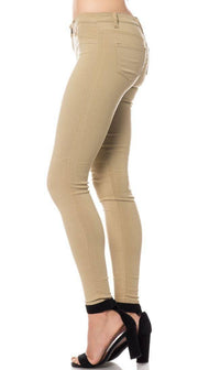 Low Rise Stretchy Skinny Jeans in Khaki - SohoGirl.com