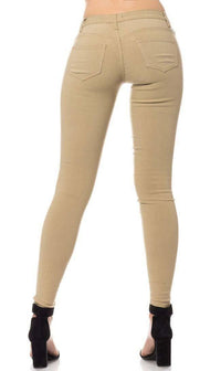 Low Rise Stretchy Skinny Jeans in Khaki